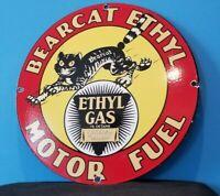 VINTAGE BEARCAT GASOLINE PORCELAIN GAS MOTOR OIL SERVICE STATION PUMP PLATE SIGN