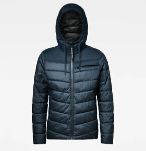 G-Star Raw Men's Legion Blue Attacc Quilted Hooded Full Zip Jacket $290