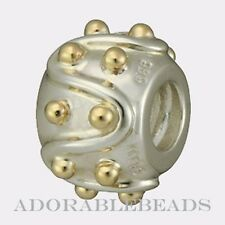 Authentic Chamilia Sterling Silver & 14k Gold Dots Bead KD-16  *RETIRED*