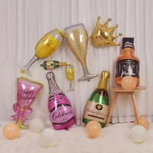2xLarge Champagne Bottle Glass Happy Birthday Beer Foil Balloon Wedding Party UK