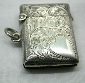 Edwardian Beautiful Condition Silver Match Case