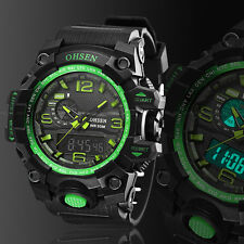 OHSEN Digital G Sport Quartz Military Watch Chronograph Water proof Shock Green