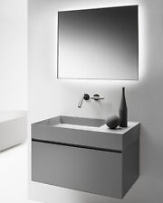 "MODE 31.5 "" Gray Wall hung Vanity, LED Mirror and Solid surface Top and Basin"