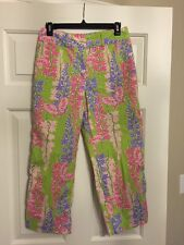 NWOT Ladies Bamboo Traders Sz 4 green pink Floral Crop Pants