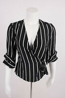 Bershka Women's Crossover Wrap Shirt S Black Striped 3/4 sleeve 0727/880 NWT