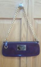 Guia's Italian Purple Leather Heavy Gold Chain  Small Bag Purse