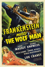 VINTAGE FRANKENSTEIN MEETS THE WOLF MAN MOVIE POSTER A4 PRINT