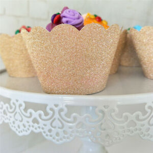 12 Pcs Rose Gold Glitter Cupcake Wrappers Birthday Party Celebration