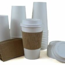 100 Paper Coffee Cup/Disposable Hot Cup 12 oz. WHITE high dome lids to go travel