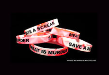 Save A Scream MEAT IS MURDER Animal Rights Silicone Wristband Vegan