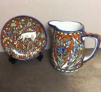 Armenian Ceramic IZNIK PITCHER and Plate, JERUSALEM ISRAEL, Carnation  and Deer