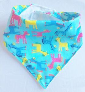 Baby, Bandana Dribble Bib, handmade, Fun, Zebras And Ponies On Blue
