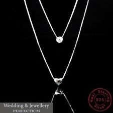 925 Sterling Silver Double Layer Necklace Crystal Rhinestone Pendant Jewellery
