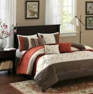 Madison Park Serene 7 Piece Cal King Embroidered Comforter Set in Spice