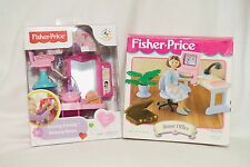 New Fisher Price Loving Family Salon 2013 X7762 & Home Office 1997 74689 NIB
