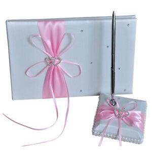 Ribbon Bow Guest Book Pen Holder Set Wedding Party Reception Home Decor  - 2 PCS