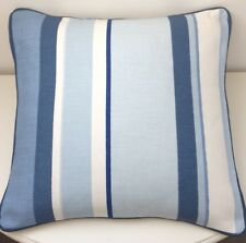 """16"""" cushion cover in Laura Ashley Eaton Royal Blue stripe  Piped In Blue"""