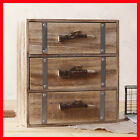 French Provincial Oak Pigeon Hole Mounted Chest of 3 Drawers Storage B20