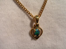 ( Lot 704 ) 14k Gold Pendant with Green/Blue L/R Opal stone in a simple setting.