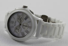 Luxury Alfex swiss made White Ceramic Chronograph Watch Mother of Pearl Face