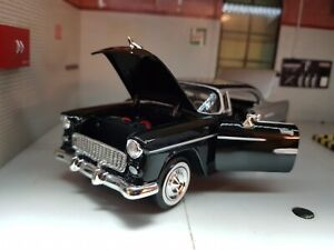1:24 Scale 1955 Chevrolet Chevy Bel Air Coupe Motormax Car 73229 Black Silver