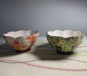 2 Vintage Dutch Wax Coastline Imports Ceramic Cereal/ Rice Bowls, Floral Design