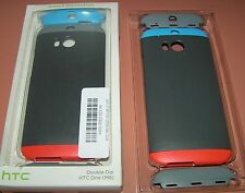 HTC One M8 Double Dip Hard Shell case, Gray with interchangeable caps, NEW
