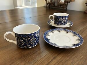 Pair of Grace's Teaware Teacups and Saucer, Royal Blue Gold Mosaic