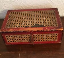 Vintage Wood Sewing Box Trinket Red Catch All Collector