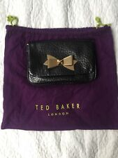 Ted Baker Real Leather Black Brinkle Bow Clasp Cross Bag