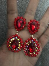 """2.5"""" Big Red Ab Dangle Rhinestone Prom Long Crystal Pageant Earrings Clip On"""