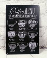 Coffee MENU Poster Tin Signs Metal Plaque Home Pub Bar Cafe Wall Decor