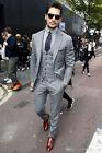Men's Grey Business Suit Slim Fit Groom Formal Wedding Suit Tuxedos Custom Made
