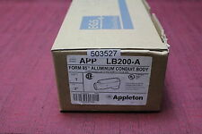 "Appleton LB200-A  2"" Aluminum form 85 TB Conduit body Unilet New"