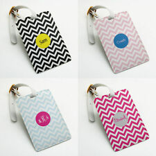 Personalized Luggage Tag Holder, Custom Name, Wedding Favor Gift, zigzag chevron