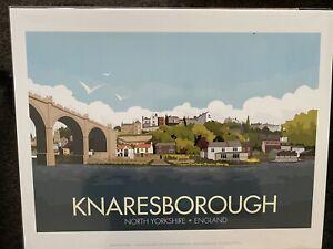 """Retro Contemporary Travel Poster Print Knaresborough 14""""x11"""" New"""