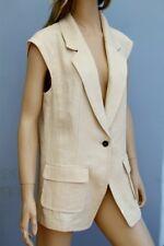 Marc Cain Beige Linen Cap Sleeve Waistcoat Size L