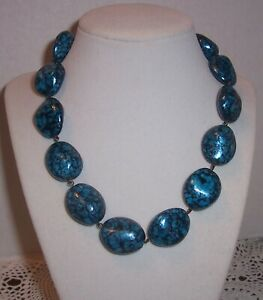 JOAN RIVERS  TURQUOISE  COLOR CHUNKY STLYE  CZEC GLASS BEAD NECKLACE