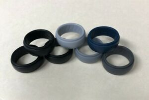 DOOKEH 7-Pc Breathable Mens Silicone Wedding Rings Sz 10 Black, Blue, Gray...