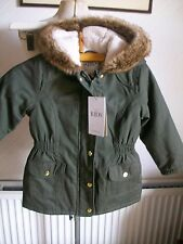 Thermal Fleece Hood Stormwear Khaki Jacket, Fur Trim, Age 3-4 Years, M&S, BNWT