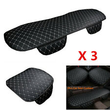 3Pcs Car Seat Cushion PU Leather Front+Rear Seat Cover Pad Protector Accessories