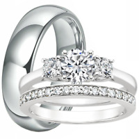 3 Three-Stone Engagement Ring Match Wedding Band CZ Set His Hers Stainless Steel
