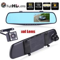 1080P Full HD 4,3 in Dual Lens Auto DVR Rückspiegel Dash Cam Kamera Nachtsicht