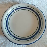 """Set 7 Country Crock Stoneware Oven to Table Plates Cobalt Blue/Green Bands 7.5"""""""