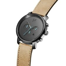 MVMT Men's Watches | Chrono | Gun Metal Sandstone Leather | BRAND NEW | 45mm
