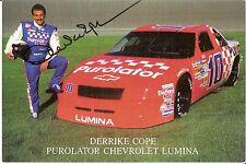 1991 DERRIKE COPE signed NASCAR PHOTO CARD POSTCARD PUROLATOR CHEVY LUMINA wCOA