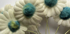 Vintage Bundles of White Daisys w/Blue Fuzzy Centers Wire Stems French