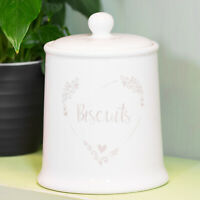 Shabby Chic Rustic Heart Ceramic Biscuit Barrel Cookie Jar Storage Tin Canister