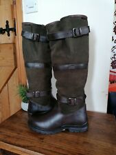 Horka Highlander Size 8 Forest Green Suede & Brown Leather Knee Length Country B