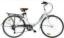 "Ecosmo 26"" Wheels Folding Ladies Women City Bicycle Bike 7 SP, 17"" -26ALF08W"